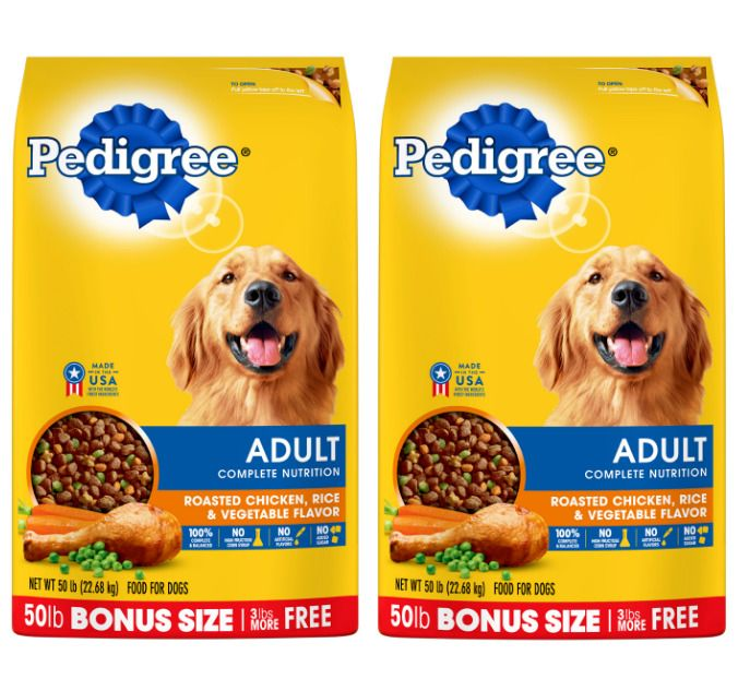 Pedigree Adult Dry Dog Food Roasted Chicken Rice Vegetable 2 X 50