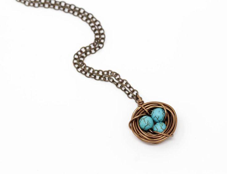 Dark Turquoise Bird Nest Necklace - Small