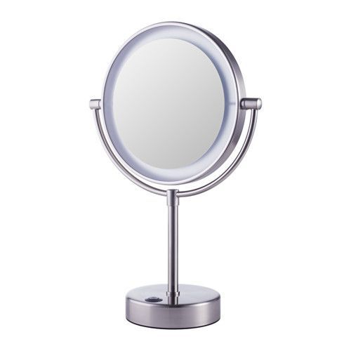 IKEA - KAITUM, Mirror with built-in lighting, One side with magnifying mirror.Suitable for use in high humidity areas since it is water-resistant.