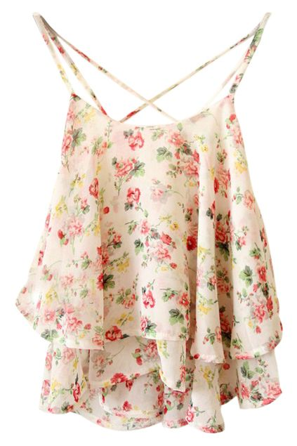 ROMWE | ROMWE Crossed Straps Floral Print Layered Vest, The Latest Street Fashion