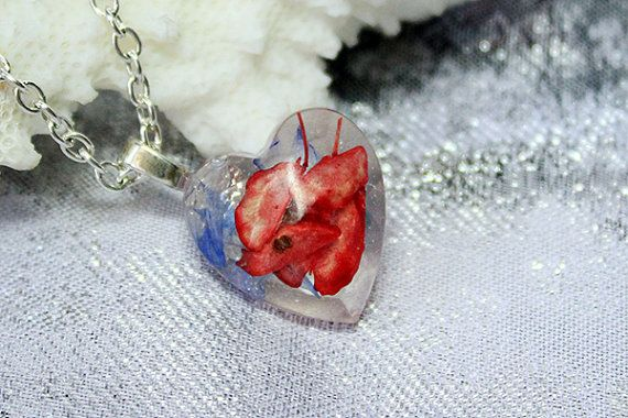 red heart necklace red blue jewelry heart pendant gift for her cute heart pendant necklace gift for girlfriend seed pendant small gift Рю133