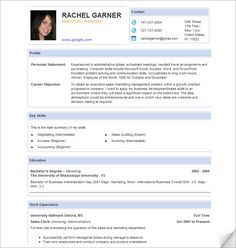 pic, profile (personal statement, career objective), key skills, education, work experience // blocks of info with nice headings
