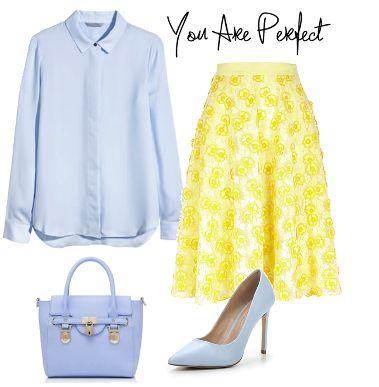 Желтая юбка миди: с чем носить,  spring fashion look