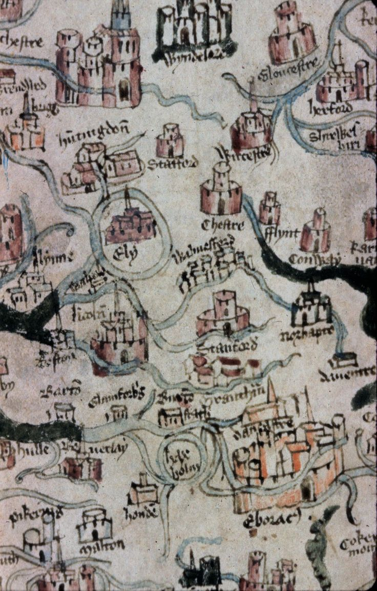 Partial Map of England from Winchester to York, with South at the top, north at the bottom, plus a small portion of Wales.
