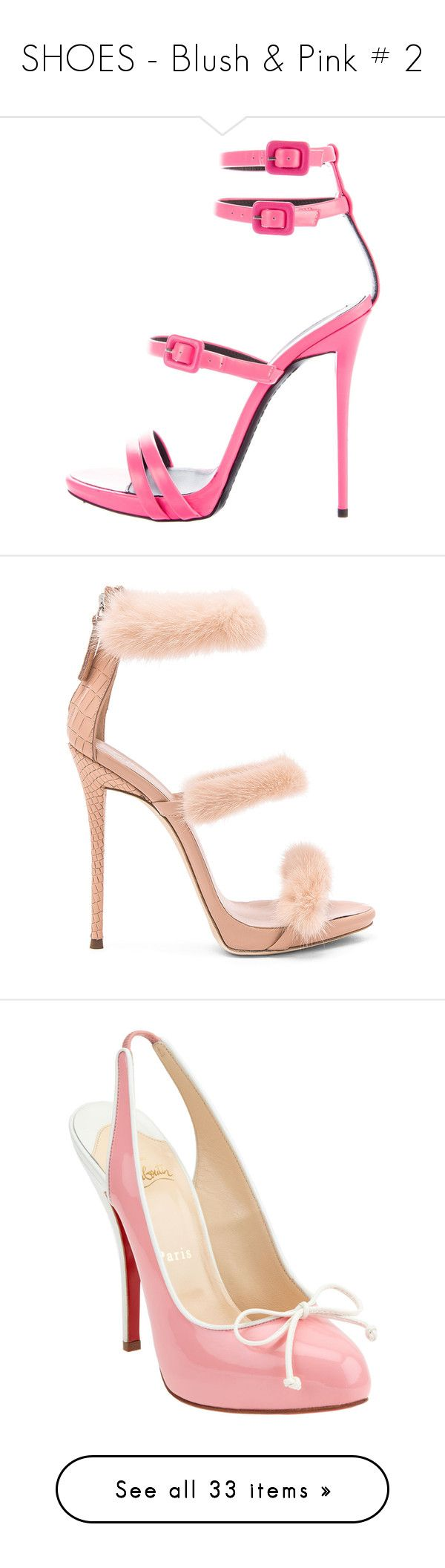 """""""SHOES - Blush & Pink # 2"""" by lynesse ❤ liked on Polyvore featuring shoes, sandals, pink, buckle sandals, neon pink sandals, leather sandals, pink strappy sandals, giuseppe zanotti sandals, pumps and heels"""