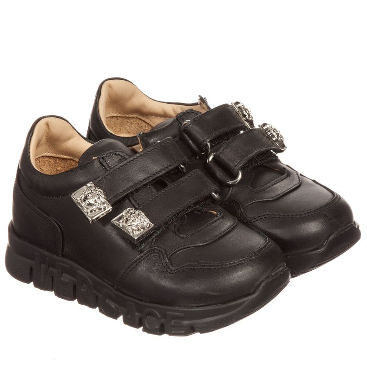Young Versace - Black Leather Trainers | Childrensalon