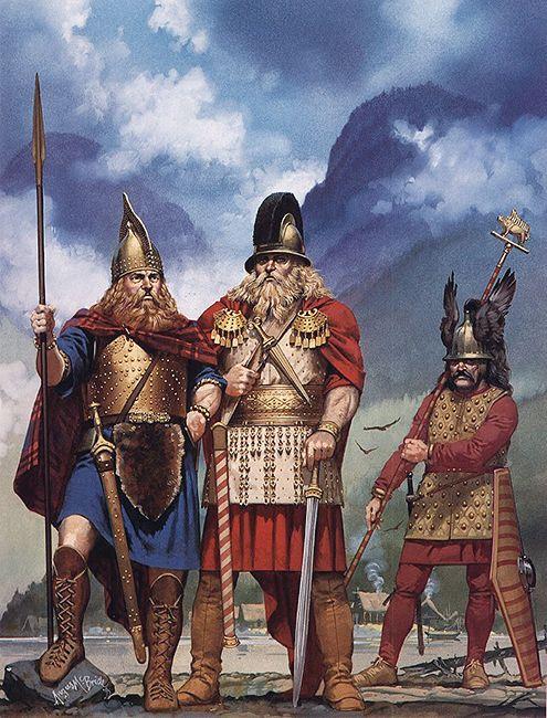 Angus McBride - Guerreros celtas de la cultura de Hallstatt, 550-500 aC.