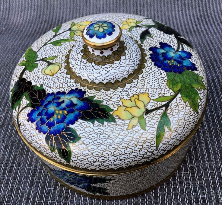 VTG Chinese Cloisonne Enamel Covered Bowl Jar Box Multi-Color Millifleur Floral #Unknown