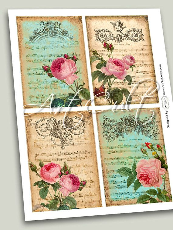 PARTITURA Digital Collage Sheet 4 Greeting Cards by ArtCult