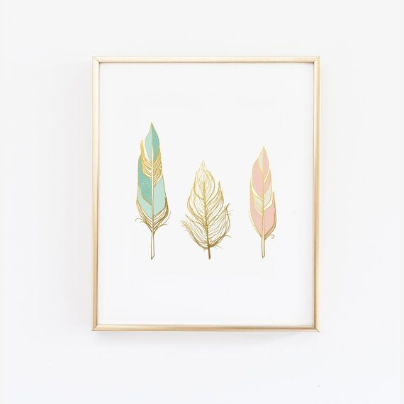 Blush Pink Mint and Gold feathers wall art -  Faux Gold Foil Print  - 5x7, 8x10, 11x14, 12x16, 13x19, home decor