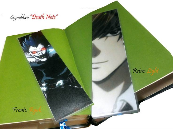 Segnalibro Death Note: https://www.facebook.com/ITuoiRegaliPersonalizzati/photos/a.165738376957146.1073741851.139950632869254/165738700290447/?type=3&theater