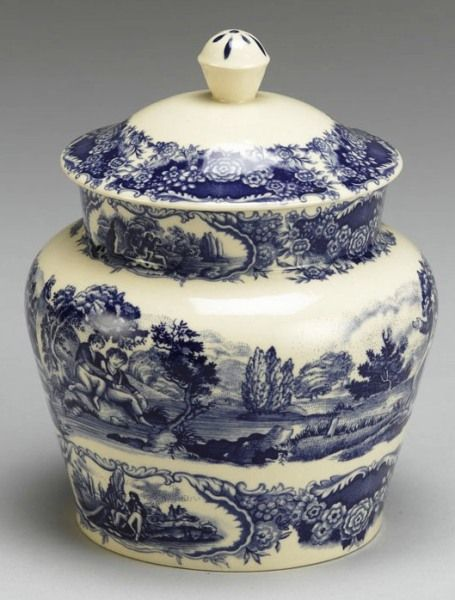 Blue Toile Porcelain Cookie Biscuit Jar Scenic Victorian  http://www.cypresshomedecor.com/#