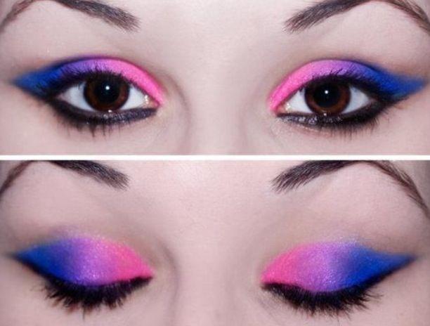 Bisexual pride makeup.Eye Makeup, Eye Shadows, Makeup Art, Parties Makeup, Neon Colors, Eyeshadows, Eyemakeup, Eye Art, Makeup Design