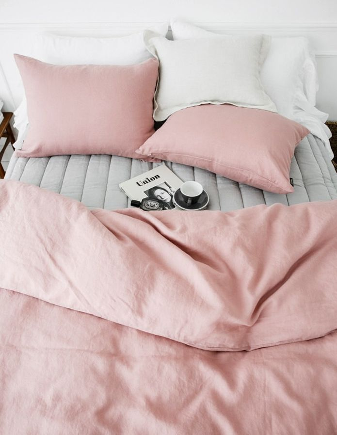 Pink, grey and white decor inspiration. This looks like the perfect Sunday morning set-up bedroom bed - http://amzn.to/2i1XtUe