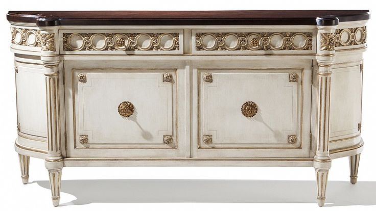 Villa Orsini Buffet from Collection Ten by @ebanistacollect. Two door/two drawer buffet with one adjustable interior shelf. Antiqued ivory painted finish with antiqued gold or antiqued silver detailing. Planked and banded French polished walnut top. Available in multiple sizes. Discover more at www.ebanista.com