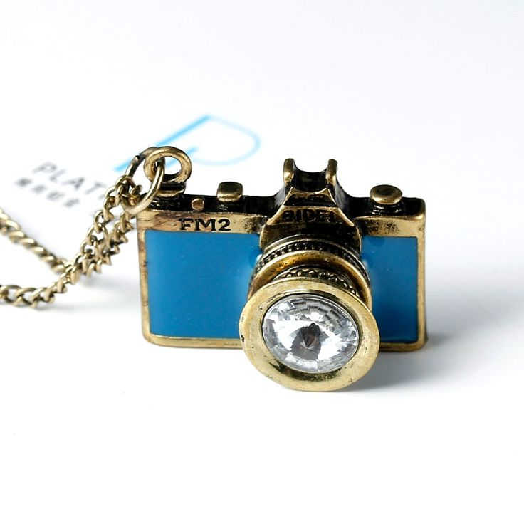 DoreenBeads 2016 Vintage Jewelry antique golden Long Chain Colorful Enamel Camera Pendant Necklaces Bijoux Women Top Selling