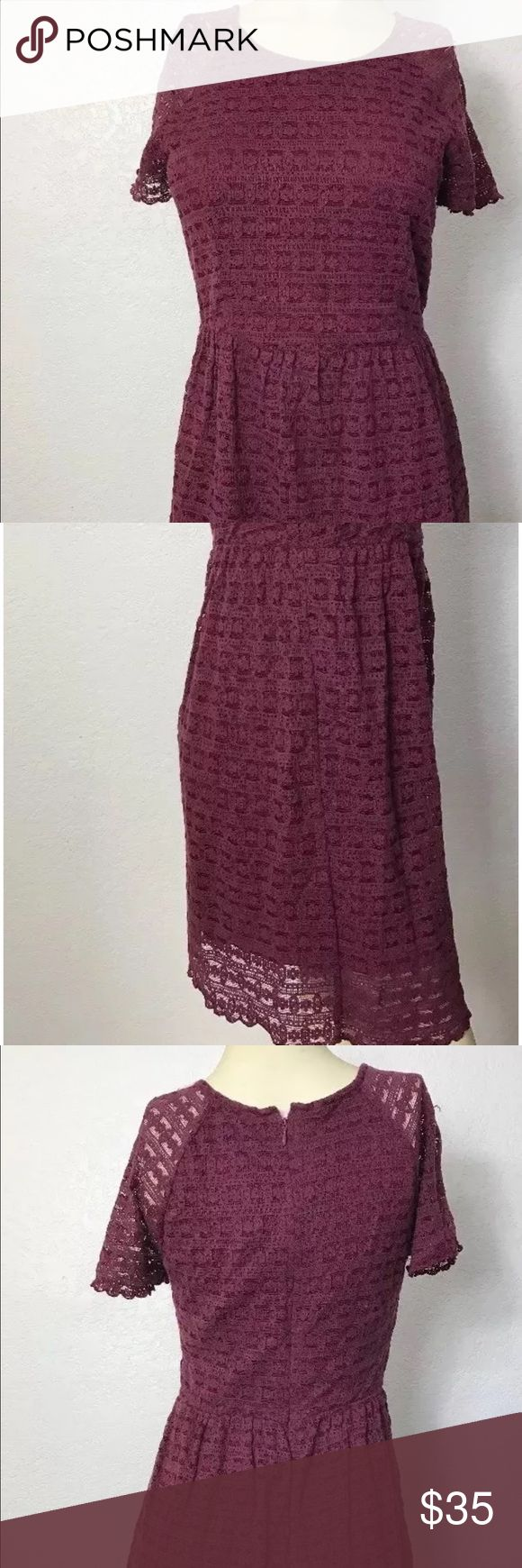 """Free People Maroon Skater Dress size 8 Free People Maroon Skater Dress size 8  bust 32"""" length 34"""" Free People Dresses High Low"""
