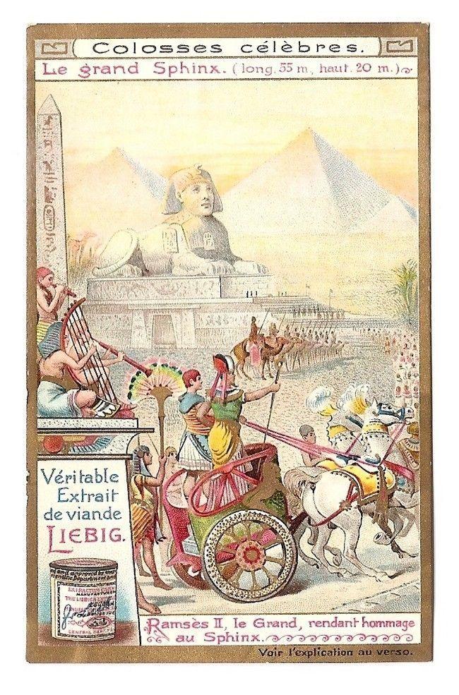 Le grand Sphinx - Ramses II  Char - Colosse célèbre - Chromo Liebig - Trade Card