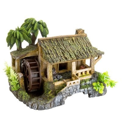 Amazon.com: Top Fin Cocotree & Wooden House Bubbler Aquarium Ornament: Pet Supplies