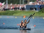 Lisa Carrington and Erin Taylor of New Zealand in action during the women's Kayak Double (K2) 500m Sprint