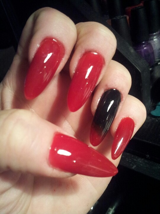 Halloween red and black stiletto nails...see more on ...