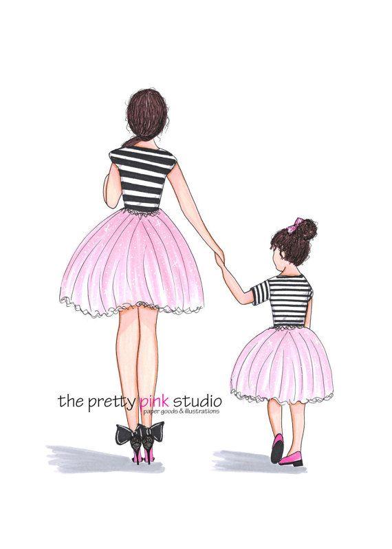 If I had a daughter..  Mutter-Tochter-Abbildung Rosa Ballerina von theprettypinkstudio
