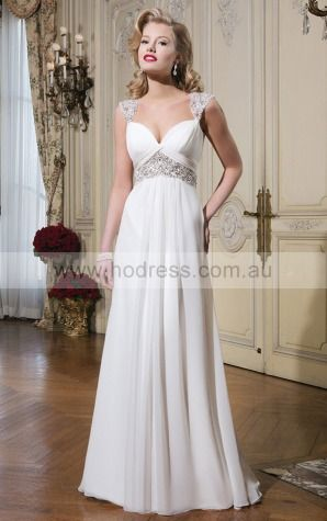 Buttons A-line Empire V-neck Wedding Dresses hjcf1001--Hodress