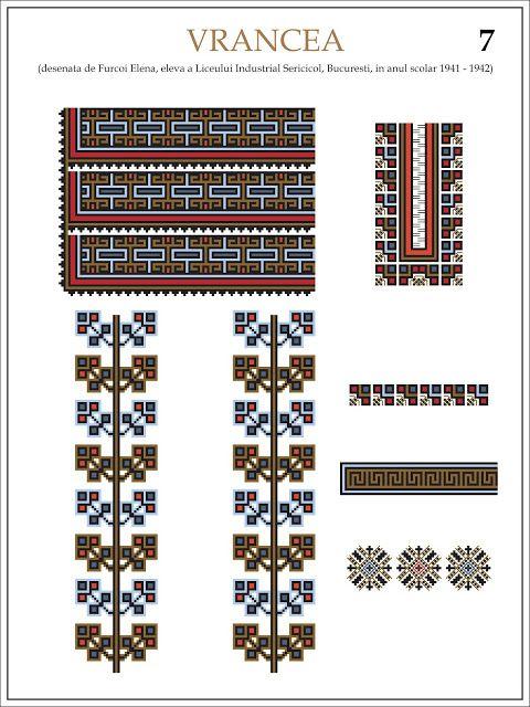 Semne Cusute: ie din VRANCEA (7)  Modele de ii Romanesti din caietul elevei Furcoi Elena, de la Liceul Industrial Sericicol Bucuresti, care a desenat aceste planse in clasa a VIII-a, anul scolar 1941 - 1942