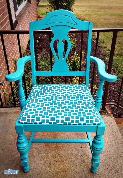 Chair makeovers Lovin' the turquoise!