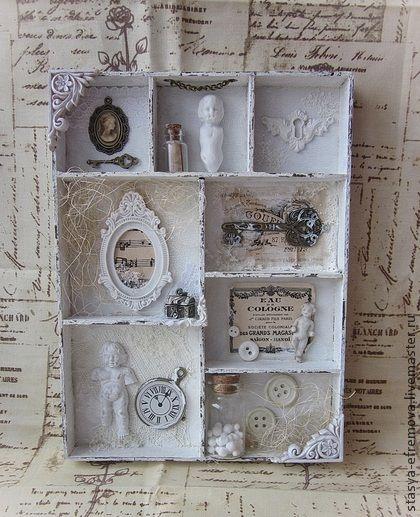 """Панно """"Лавка старого Кукольника"""" (с антикварными элементами) - белый,панно ручной работы"""