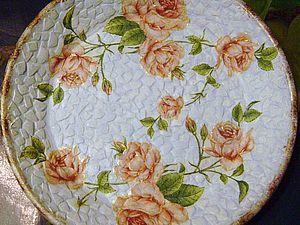 Декупаж тарелочки  с помощью яичной скорлупы. | Ярмарка Мастеров - ручная работа, handmade