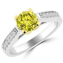 Canary Yellow Diamond Engagement Ring Two Tone Gold