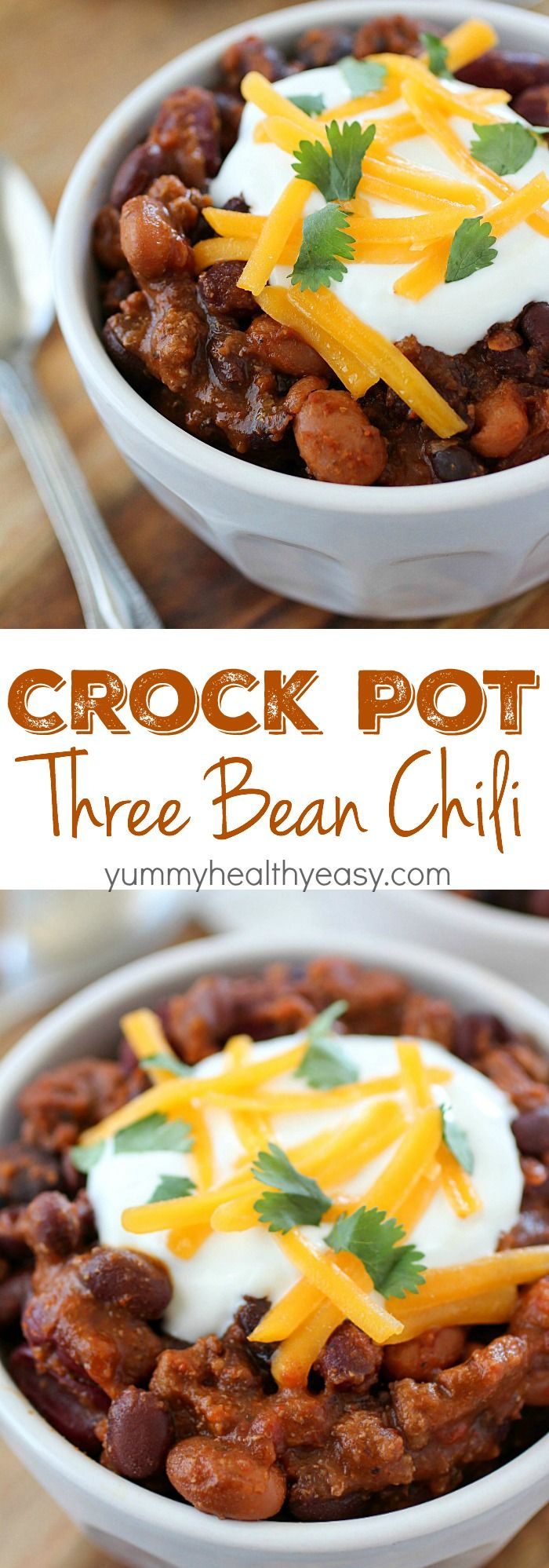 Crock Pot Three Bean Chili that is packed with flavor! You will love this easy chili cooked right in the slow cooker!