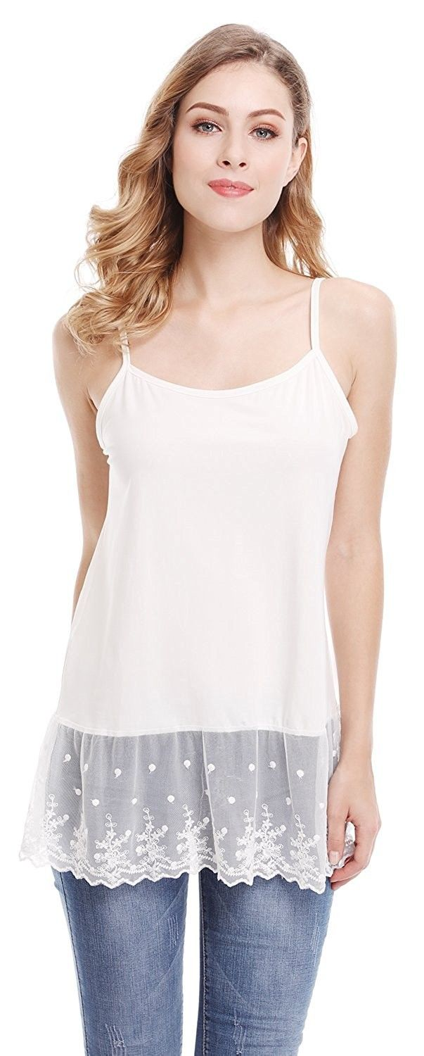 dab04911849f04 Womens Lace Trim Tunic Tank Top Layering Cami Top Extender - White Stlye 2  - C31884D4Z9R,Women's Clothing, Lingerie, Sleep & Lounge, Lingerie,  Camisoles ...