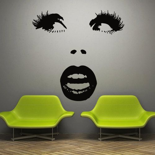Wall decal decor decals art girl face lips sexy by DecorWallDecals, $27.98
