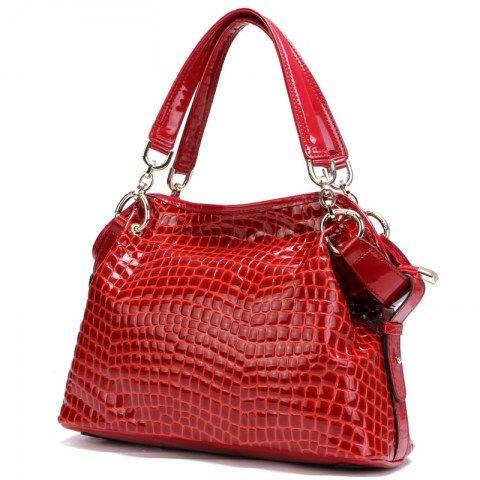 Crocodile Pattern Patent Genuine Leather Shoulder Handbags