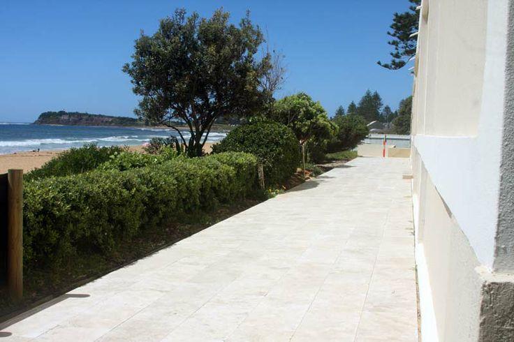 Luna Travertine Pavers path by the beach (Collaroy, NSW).