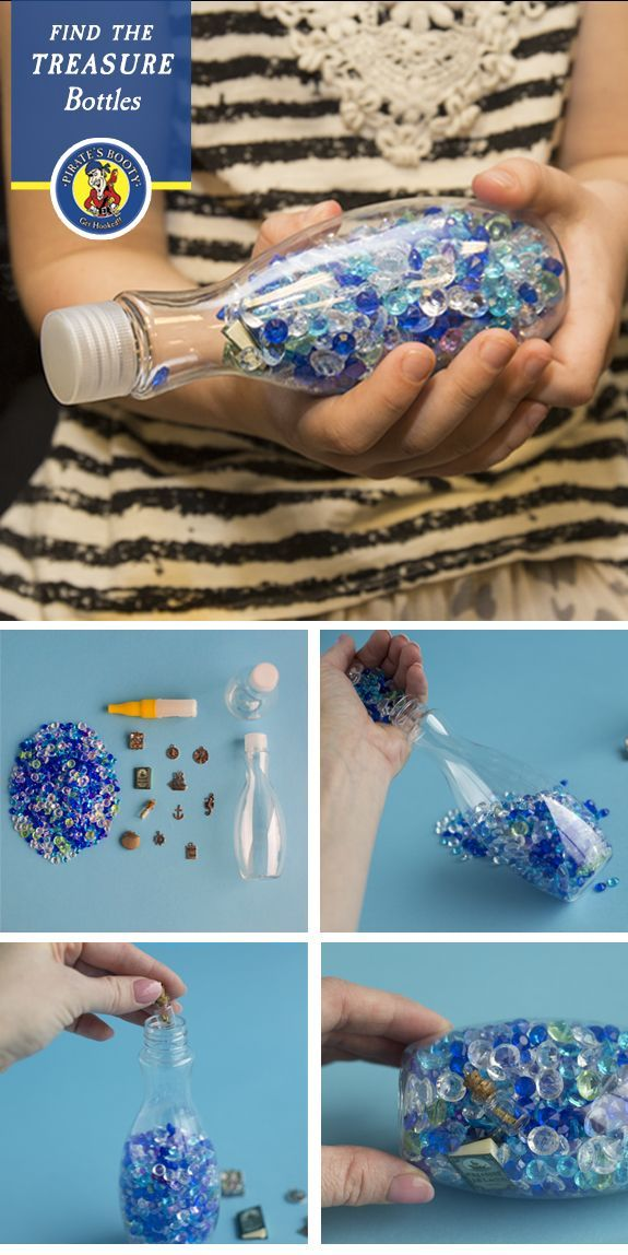 Fill a small plastic bottle with craft gems and bury a few treasures in there. Tell yarrr kids to keep spinning it around until they've spotted every last trinket!