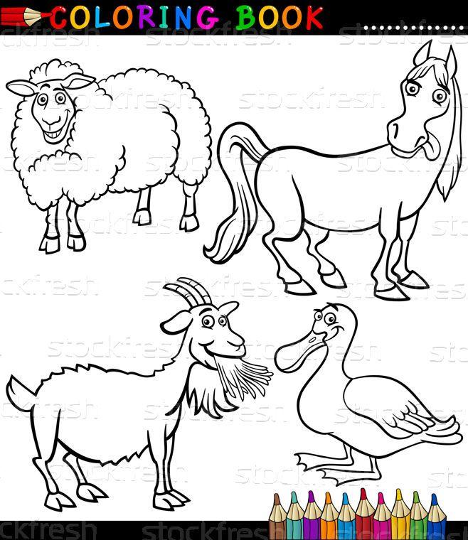 Rajz · farm · állatok · könyv · fekete · fehér - vektorgrafika © Igor Zakowski (izakowski) (#2604442) | Stockfresh