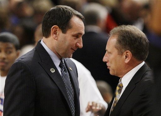 Duke head coach Mike Krzyzewski, left, and Michigan State coach Tom Izzo, right, talk before an NCAA college basketball game Tuesday, Nov. 15, 2011, in New York. (AP Photo/Frank Franklin II)Michigan State