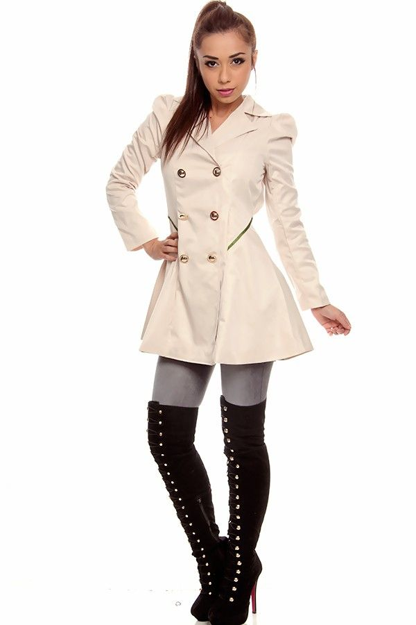 BEIGE DOUBLE BREASTED LONG SLEEVES TRENCH COAT, perfect for those rainy days