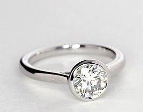 Bezel Set Solitaire Engagement Ring in Platinum | Blue Nile