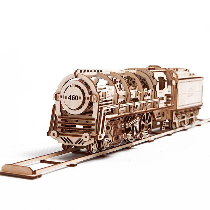 Локомотив UGEARS - это механический 3D пазл из дерева. Оригинальный и экологичный конструктор для детей и взрослых.