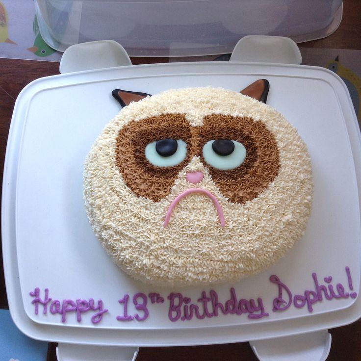Grumpy cat cake for a thirteenth birthday!