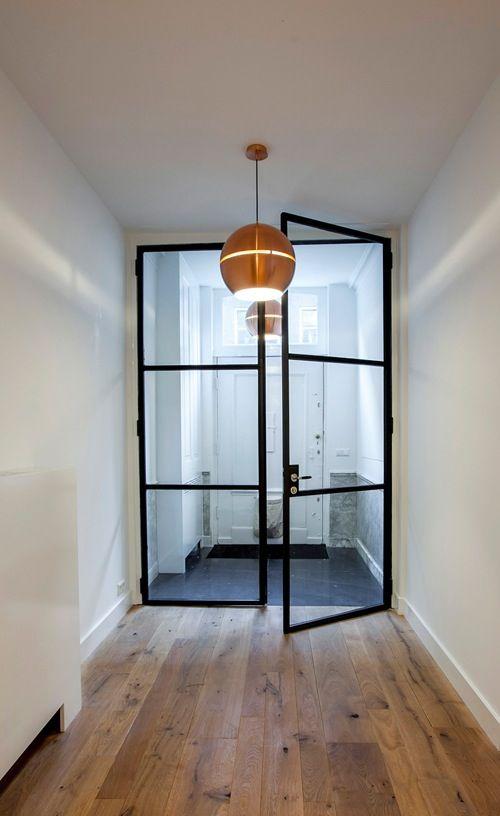 // steel framed doors & copper light