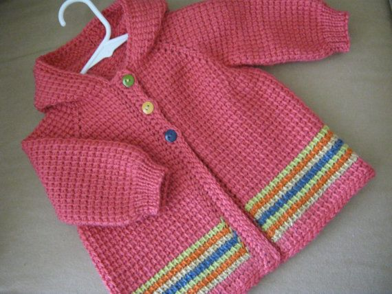 Crochet Baby Girl Sweater with Hood  MADE TO por ForBabyCreations