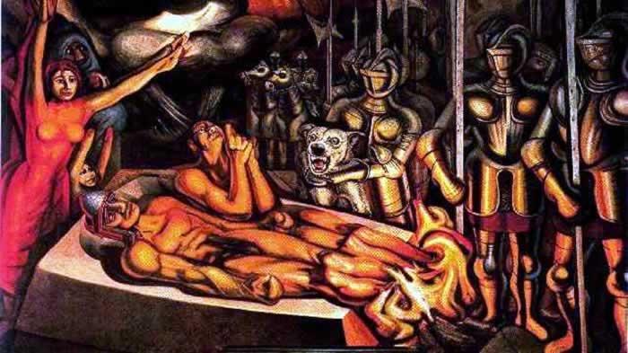 Resultado de imagen de el martirio de cuauhtemoc siqueiros
