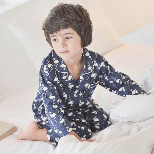 Flamingo boy sleepwear, pajama party for kids ideas, good quality, cotton pj made in KOREA.