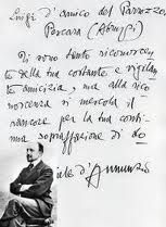 """Gabriele d'Annunzio in 1920 was the first person to whom Luigi D'Amico (the inventor) let taste the parrozzo. The Poet, entranced by the new sweet, wrote a madrigal """"The Song of Parrozzo"""" Pescara, Abruzzo"""