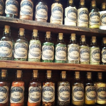 DIY vintage french apothecary spice jars w/ Vintage spice labels. Idea for reorganizing the hubby's spice collection. Follow link to bottle wholesaler...